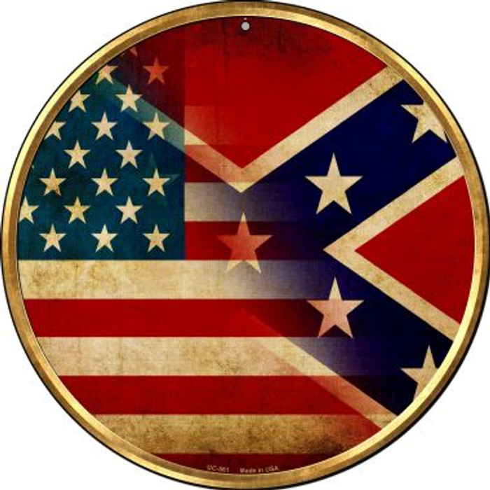 American Confederate Flag Novelty Small Metal Circular Sign UC-561