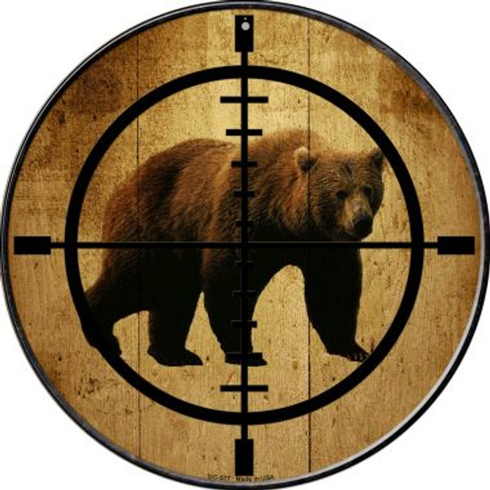 Bear Hunter Novelty Small Metal Circular Sign UC-577