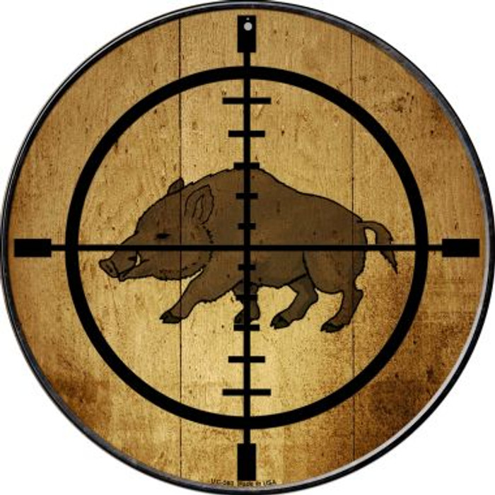 Boar Hunter Novelty Small Metal Circular Sign UC-580