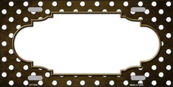 Brown White Small Dots Scallop Print Oil Rubbed Metal Novelty License Plate