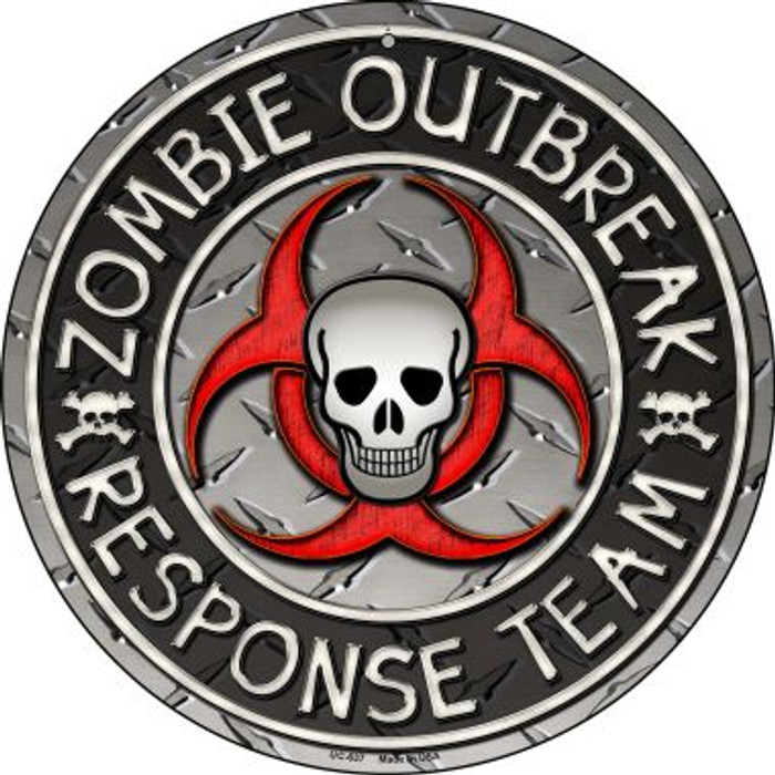 Zombie Outbreak Novelty Small Metal Circular Sign UC-637