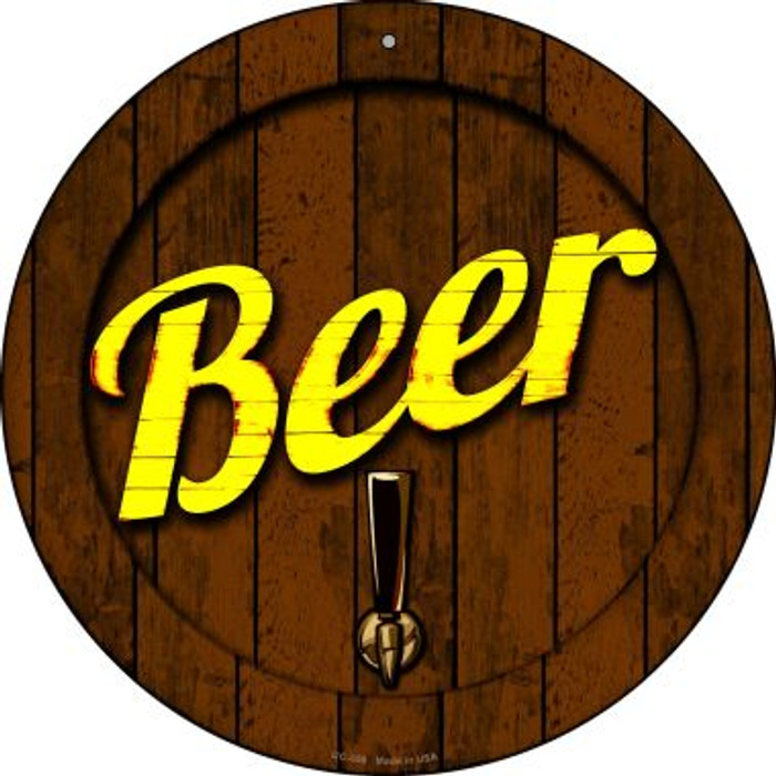 Beer Keg Tap Novelty Small Metal Circular Sign UC-658
