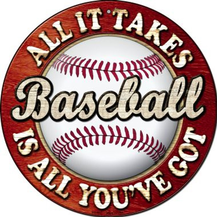 Baseball Novelty Small Metal Circular Sign UC-662