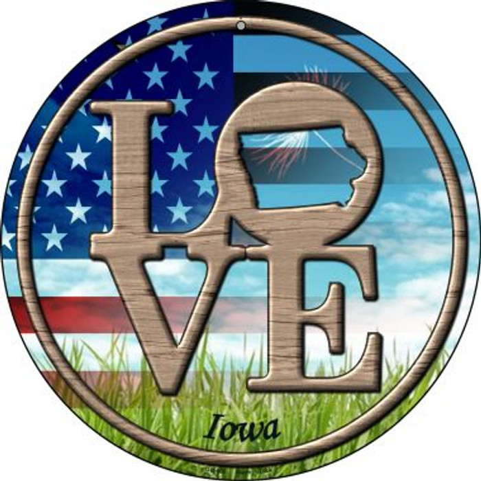 Love Iowa Novelty Small Metal Circular Sign UC-680