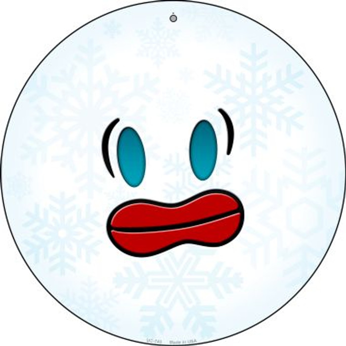 Frazzle Face Snowflake Novelty Small Metal Circular Sign UC-743