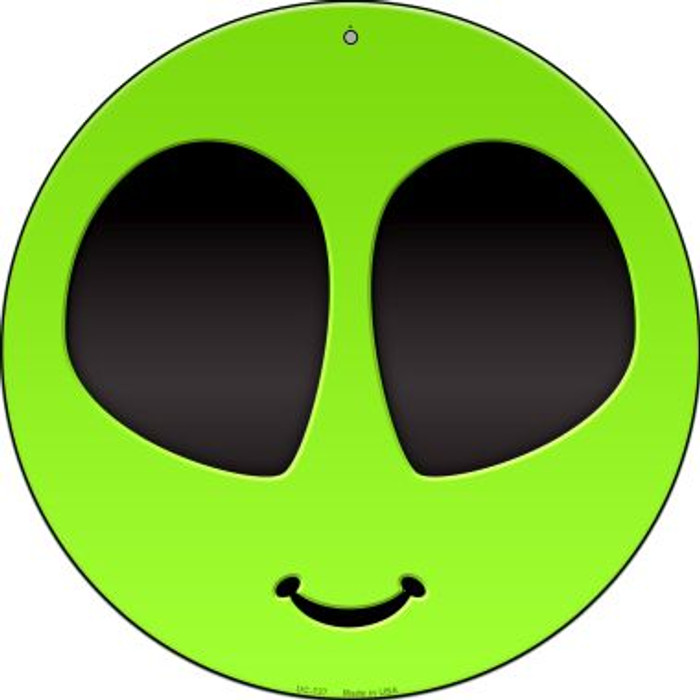 Alien Smile Face Novelty Small Metal Circular Sign UC-727