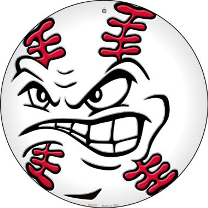 Angry Baseball Novelty Small Metal Circular Sign UC-737