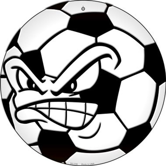 Angry Soccer Ball Novelty Small Metal Circular Sign UC-738