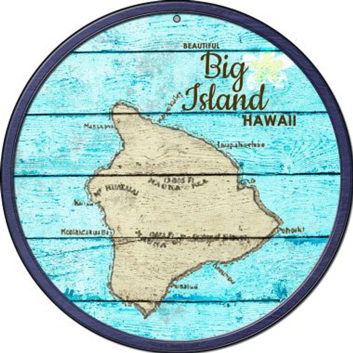 Big Island Hawaii Map Novelty Small Metal Circular Sign UC-818