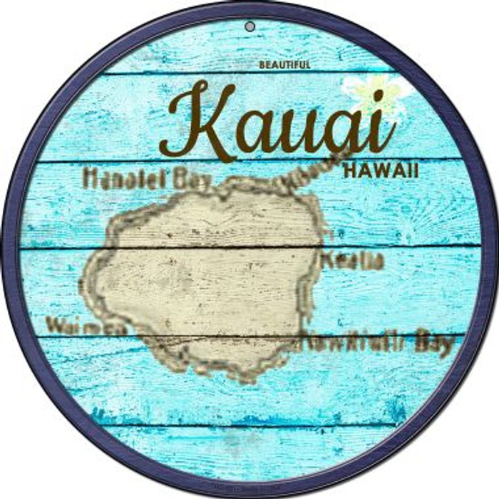 Kauai Hawaii Map Novelty Small Metal Circular Sign UC-821