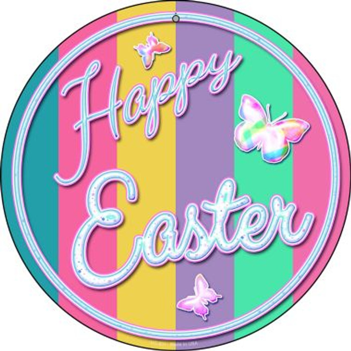 Happy Easter with Butterflies Novelty Small Metal Circular Sign UC-831