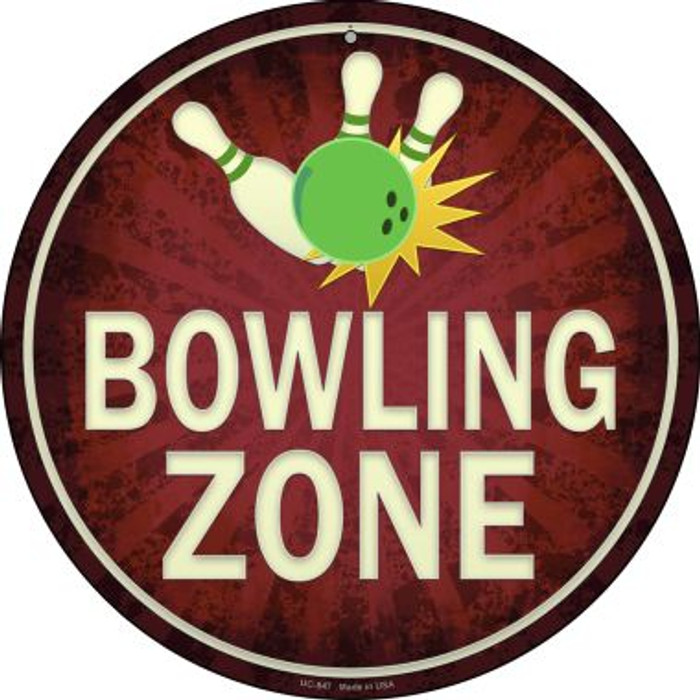 Bowling Zone Novelty Small Metal Circular Sign UC-847