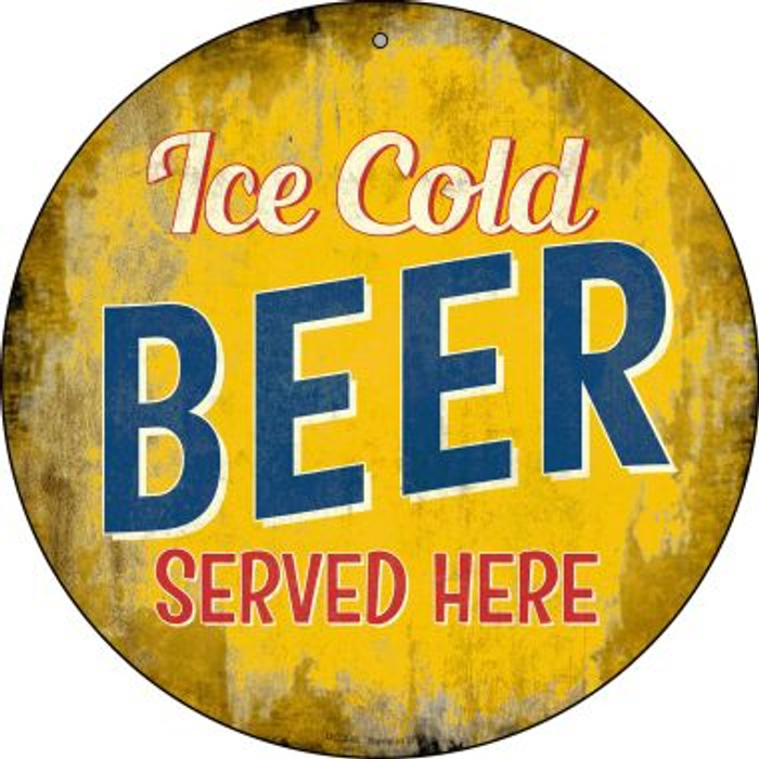 Ice Cold Beer Served Here Novelty Small Metal Circular Sign UC-848