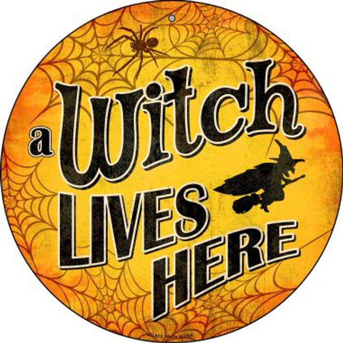 A Witch Lives Here Novelty Small Metal Circular Sign UC-853