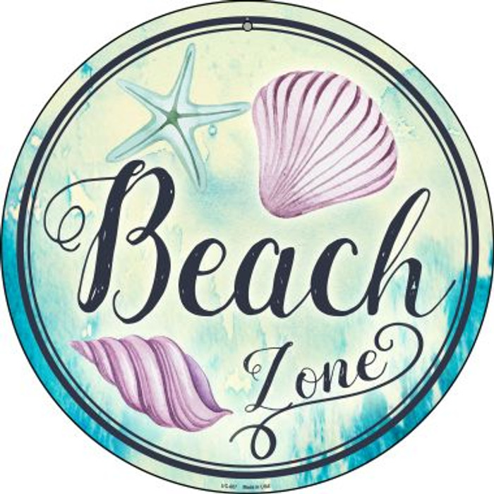 Beach Zone Novelty Small Metal Circular Sign UC-887