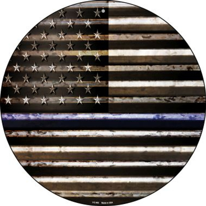 American Flag Thin Blue Line Novelty Small Metal Circular Sign UC-893