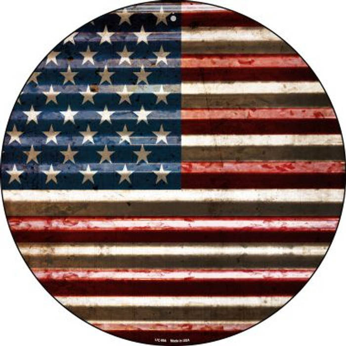 American Flag Novelty Small Metal Circular Sign UC-894