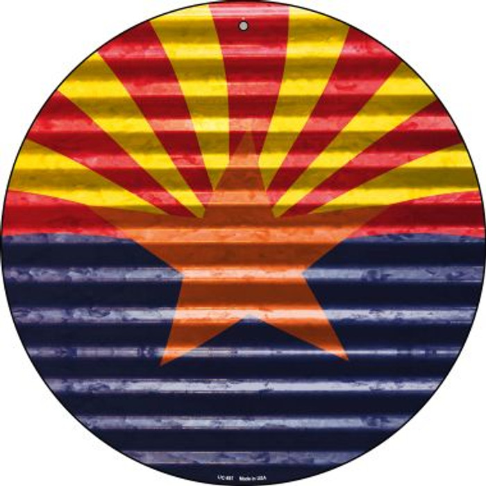 Arizona Flag Novelty Small Metal Circular Sign UC-897