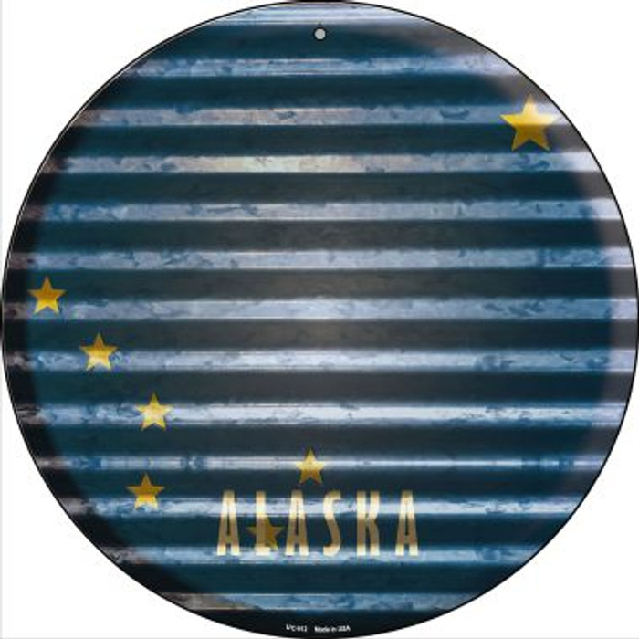 Alaska Flag Corrugated Effect Novelty Small Metal Circular Sign UC-912