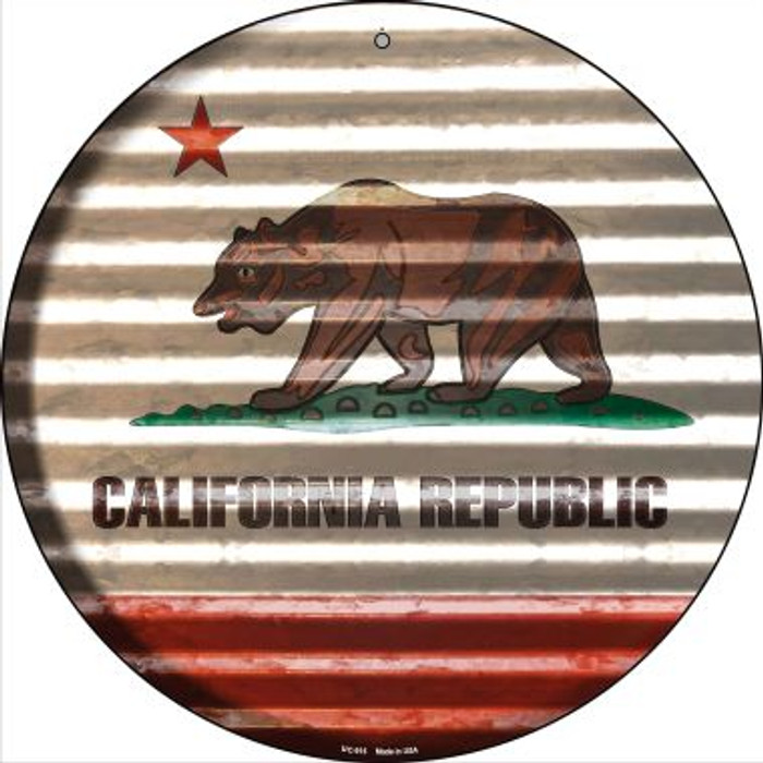 California Flag Corrugated Effect Novelty Small Metal Circular Sign UC-915