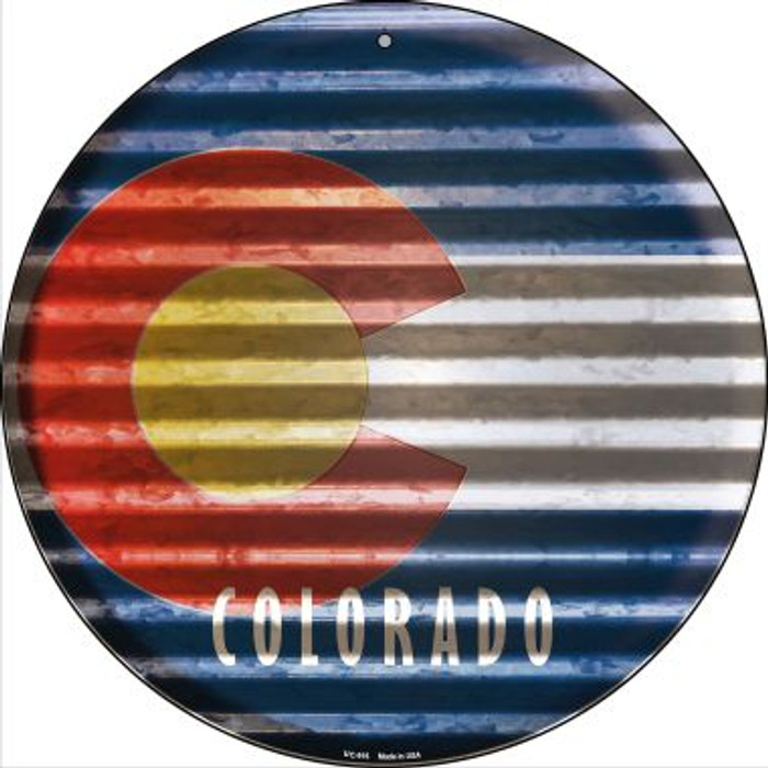 Colorado Flag Corrugated Effect Novelty Small Metal Circular Sign UC-916