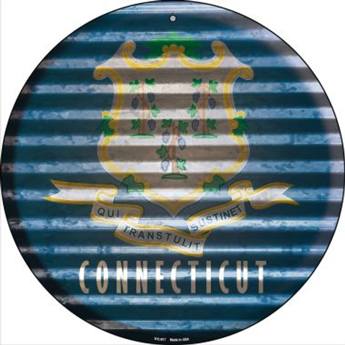 Connecticut Flag Corrugated Effect Novelty Small Metal Circular Sign UC-917