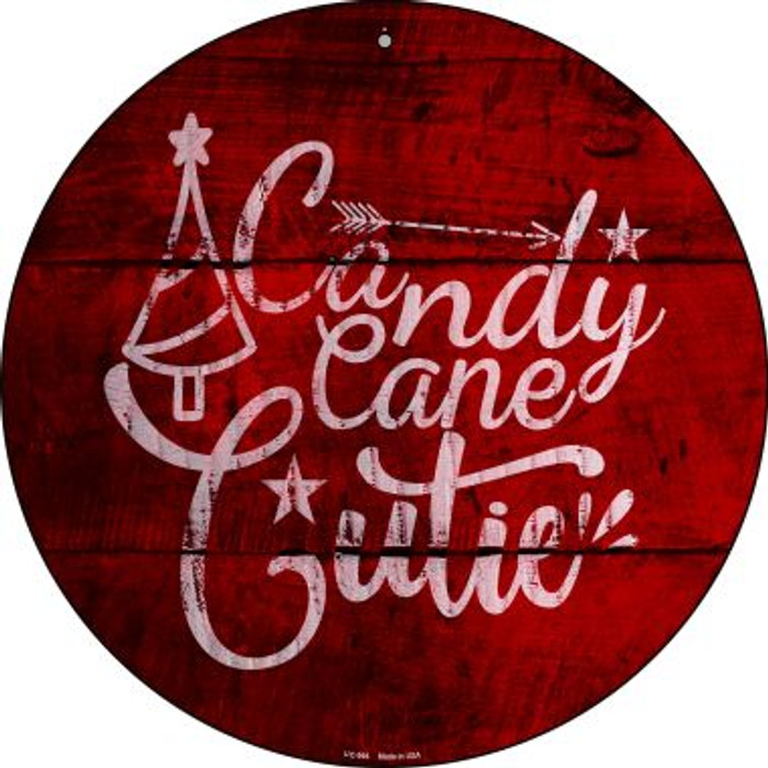 Candy Cane Cutie Novelty Small Metal Circular Sign UC-994