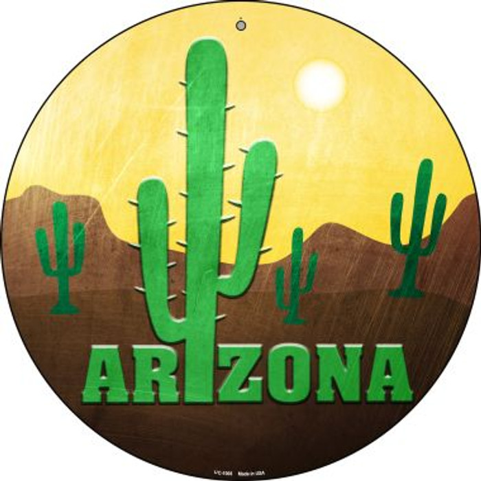 Arizona with Saguaro Novelty Small Metal Circular Sign UC-1005