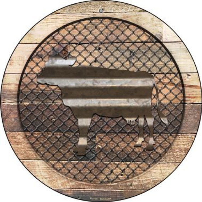 Corrugated Cow on Wood Novelty Small Metal Circular Sign UC-1020