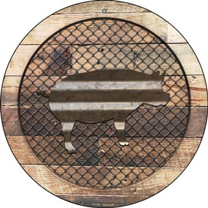 Corrugated Pig on Wood Novelty Small Metal Circular Sign UC-1021