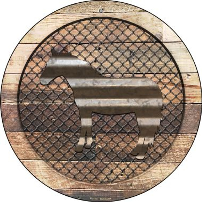 Corrugated Horse on Wood Novelty Small Metal Circular Sign UC-1022