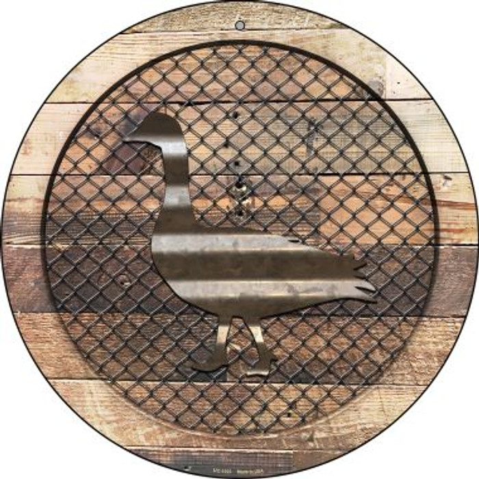 Corrugated Duck on Wood Novelty Small Metal Circular Sign UC-1023