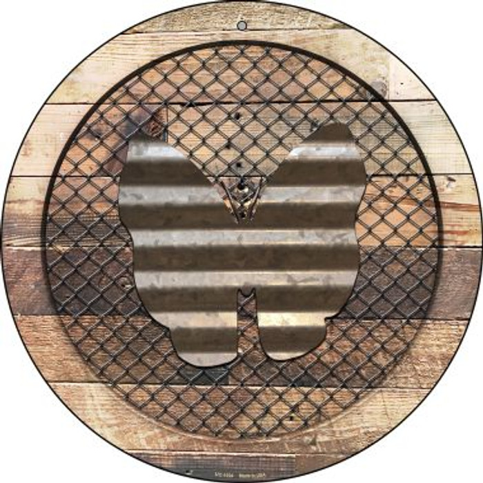 Corrugate Butterfly on Wood Novelty Small Metal Circular Sign UC-1024