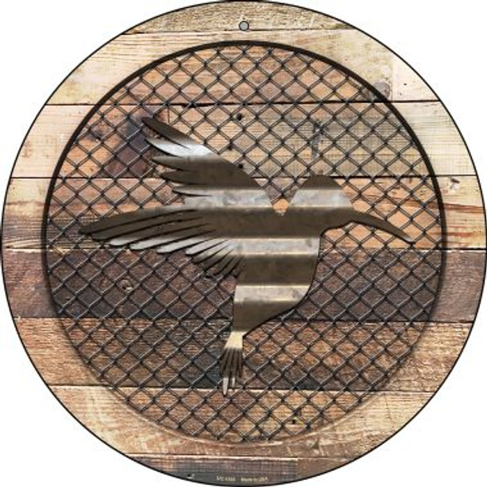 Corrugated Hummingbird on Wood Novelty Small Metal Circular Sign UC-1025