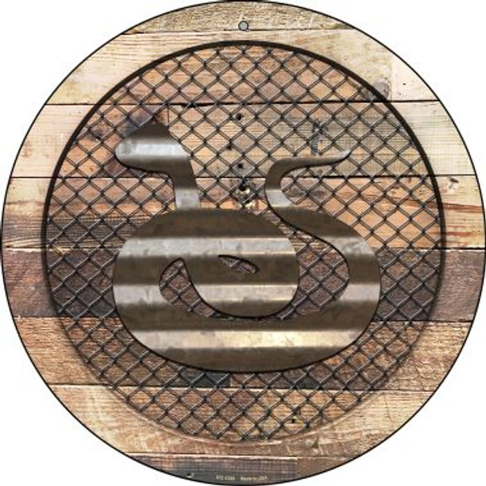 Corrugated Snake on Wood Novelty Small Metal Circular Sign UC-1028