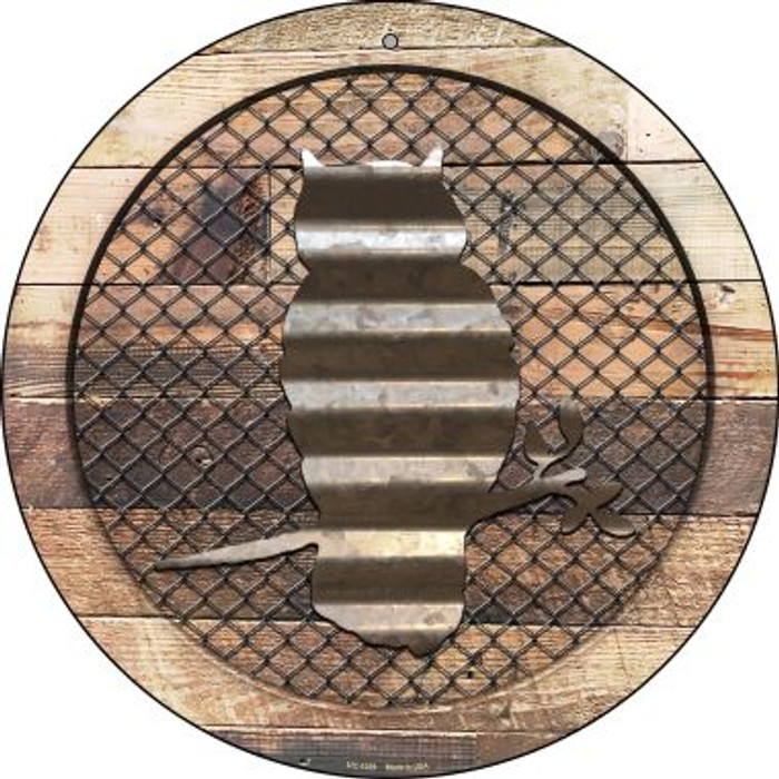 Corrugated Owl on Wood Novelty Small Metal Circular Sign UC-1029