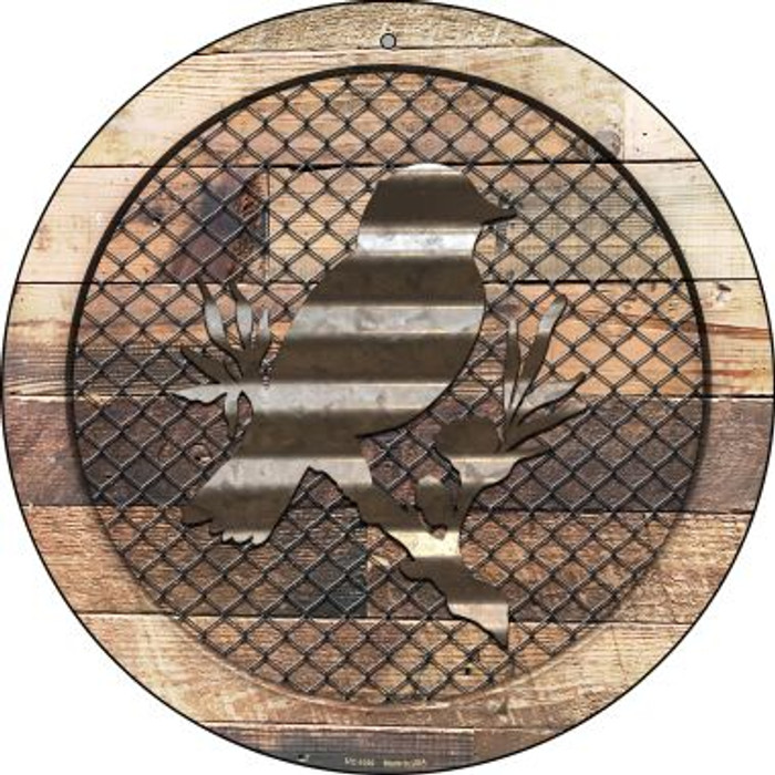 Corrugated Bird on Wood Novelty Small Metal Circular Sign UC-1030