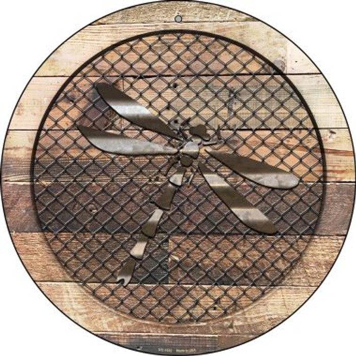 Corrugated Dragonfly on Wood Novelty Small Metal Circular Sign UC-1032