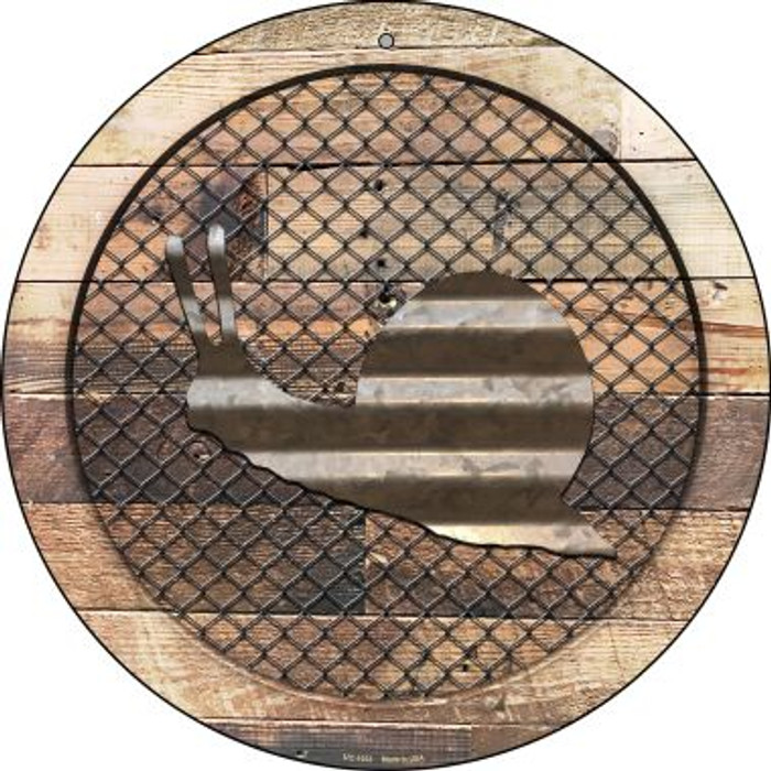 Corrugated Snail on Wood Novelty Small Metal Circular Sign UC-1033