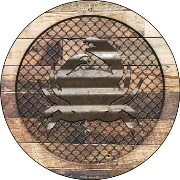 Corrugated Crab on Wood Novelty Small Metal Circular Sign UC-1034