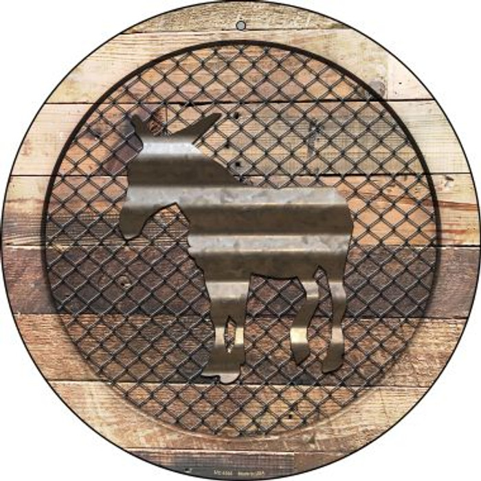 Corrugated Donkey on Wood Novelty Small Metal Circular Sign UC-1035