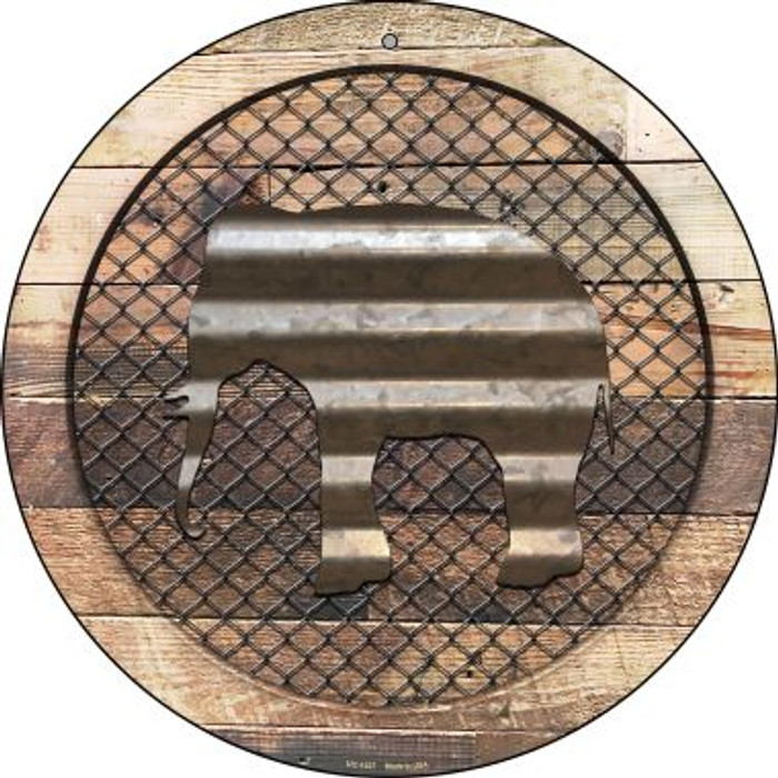 Corrugated Elephant on Wood Novelty Small Metal Circular Sign UC-1037