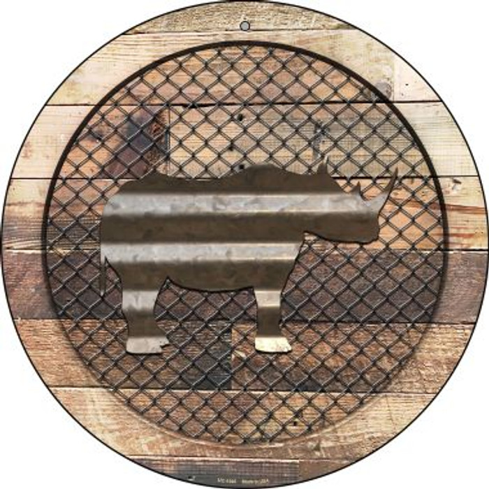 Corrugated Rhino on Wood Novelty Small Metal Circular Sign UC-1045