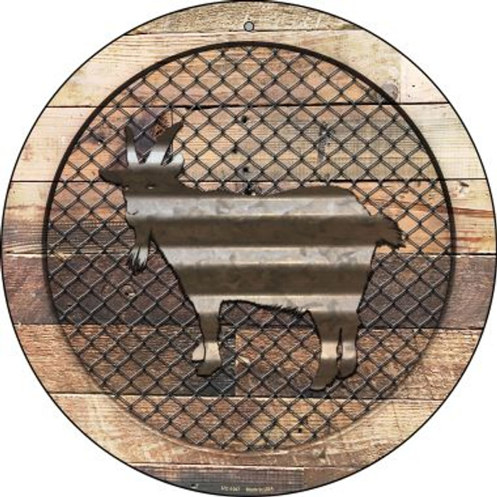 Corrugated Goat on Wood Novelty Small Metal Circular Sign UC-1047