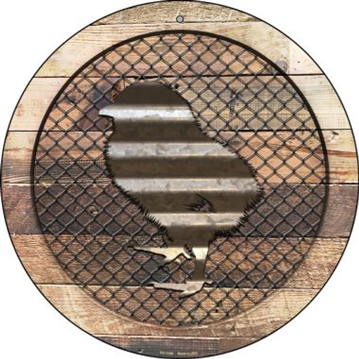 Corrugated Chick on Wood Novelty Small Metal Circular Sign UC-1048