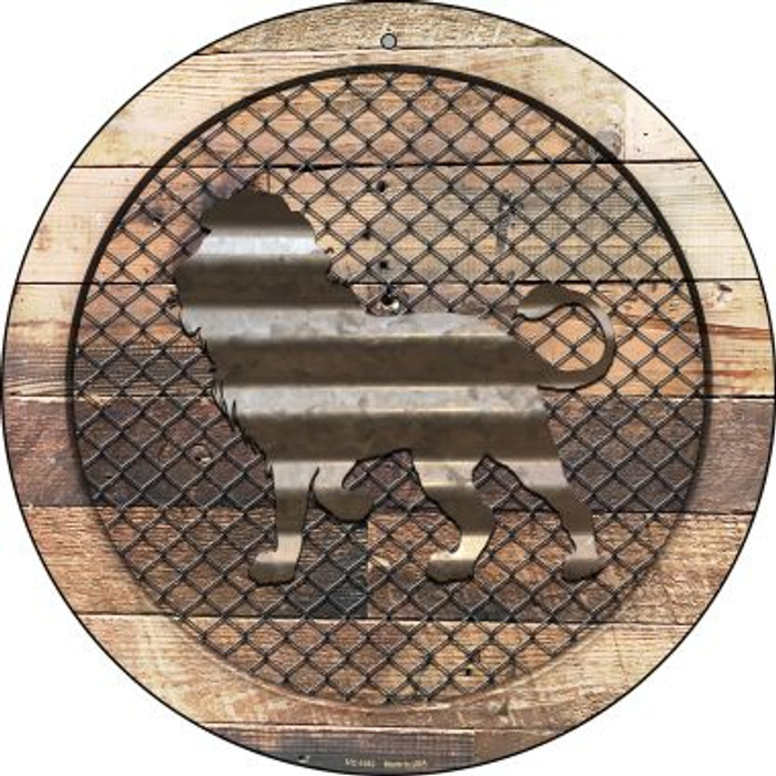 Corrugated Lion on Wood Novelty Small Metal Circular Sign UC-1052