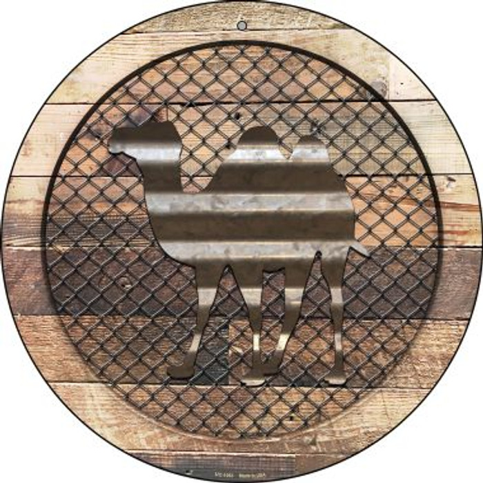 Corrugated Camel on Wood Novelty Small Metal Circular Sign UC-1053