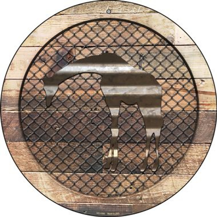 Corruagted Giraffe on Wood Novelty Small Metal Circular Sign UC-1054