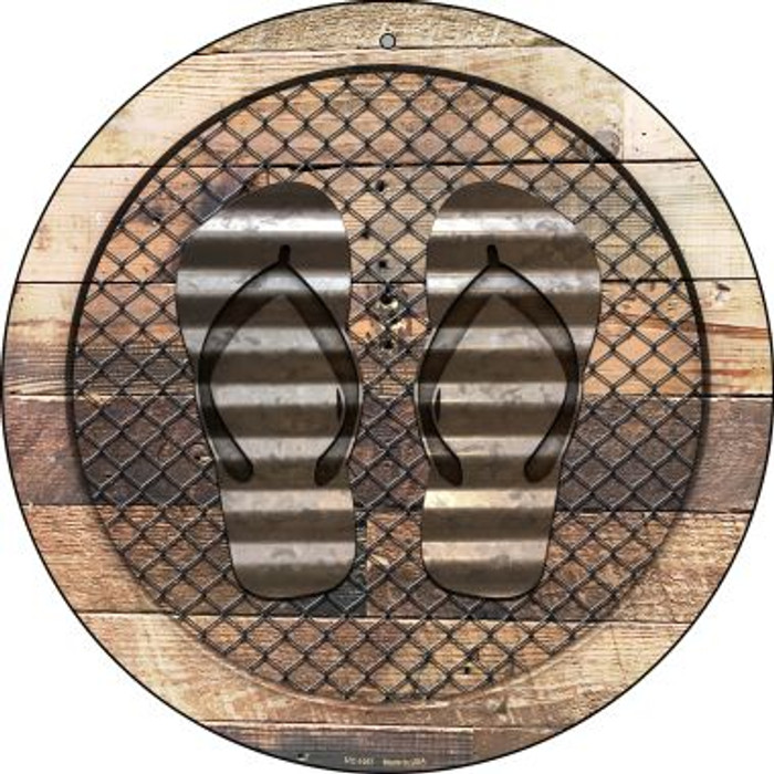 Corrugated Flip Flops on Wood Novelty Small Metal Circular Sign UC-1057
