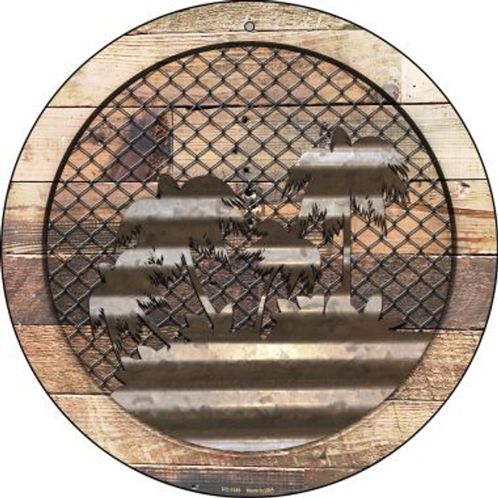 Corrugated Palm Trees on Wood Novelty Small Metal Circular Sign UC-1059
